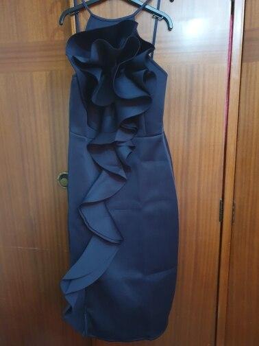 Ladies Bodycon Dress Ruffled Slim Fashion Tight Dresses Stylish Sleeveless Pencil Robe Spring Summer Fashion Tunics photo review