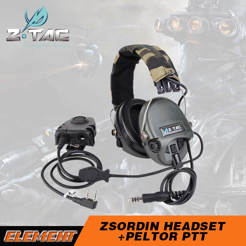 Z tactical Sordin Headset Active Volume Hearing Protector Z111 FG With zPeltor Tactical PTT Military Standard