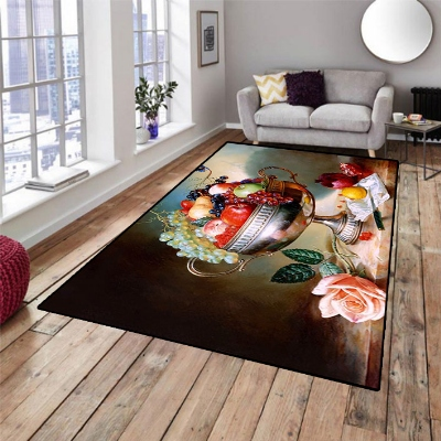 Else Colored Fresh Fruits Table Pink Roses 3d Print Non Slip Microfiber Living Room Decorative Modern Washable Area Rug Mat