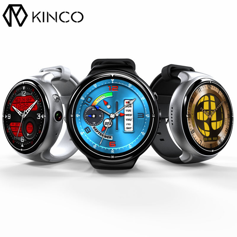 KINCO MTK6580 2G+16G Camera WIFI GPS Sleep Heart Rate Monitor Smart Phone Watch Sedenarty Weather Sports Watches for IOS/Android epic bluetooth wifi gps heart rate smart watch phone for android ios 2g 3g pedometer sleep tracker health smart watch dm368