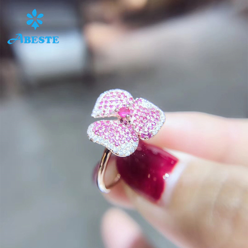 ANI 18K Rose Gold (AU750) Women Wedding Ring Certified Natural Ruby Sapphire Flower Shape Real Diamond Ring for Women Enagement