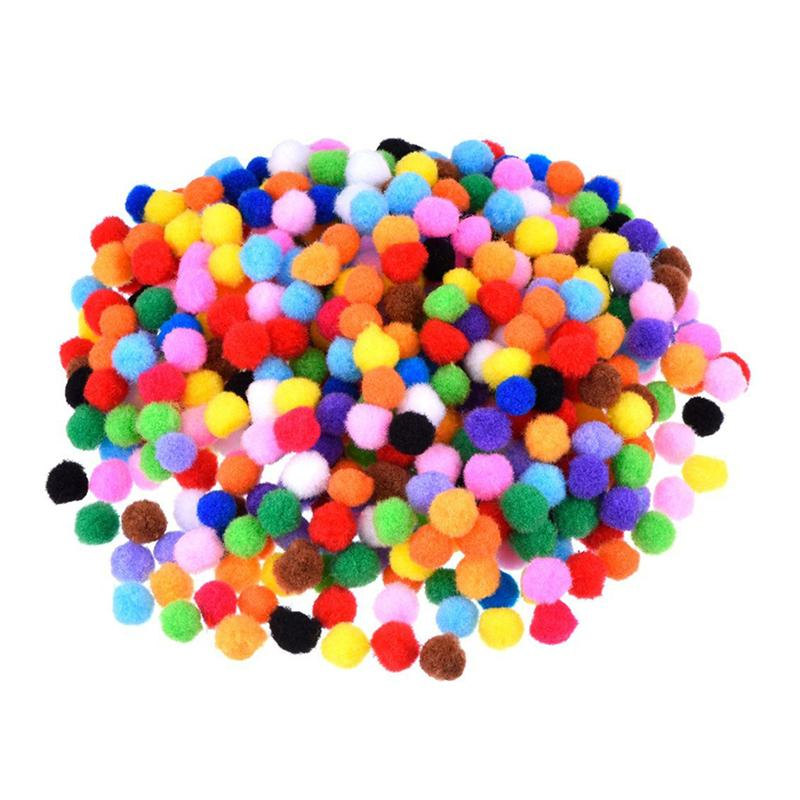 1200pcs 10mm Colorful Assorted Pom Pom for DIY Creative Crafts Decorations (Mixed Color)