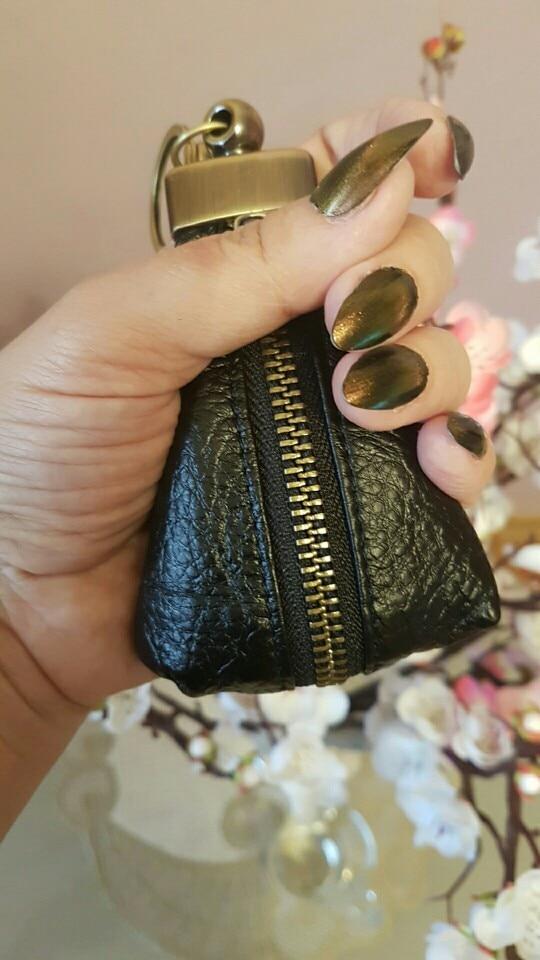 Leacool Genuine Cow Leather Bag Car Key Wallets  Fashion Men Women Housekeeper Holders Carteira Keychain Zipper Key Case Pouch photo review