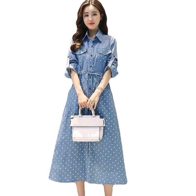 Printemps 2018 femmes Denim robe élégante à manches longues tunique bureau fête robes jeans décontractés Vestidos avec ceinture grande taille CM2843