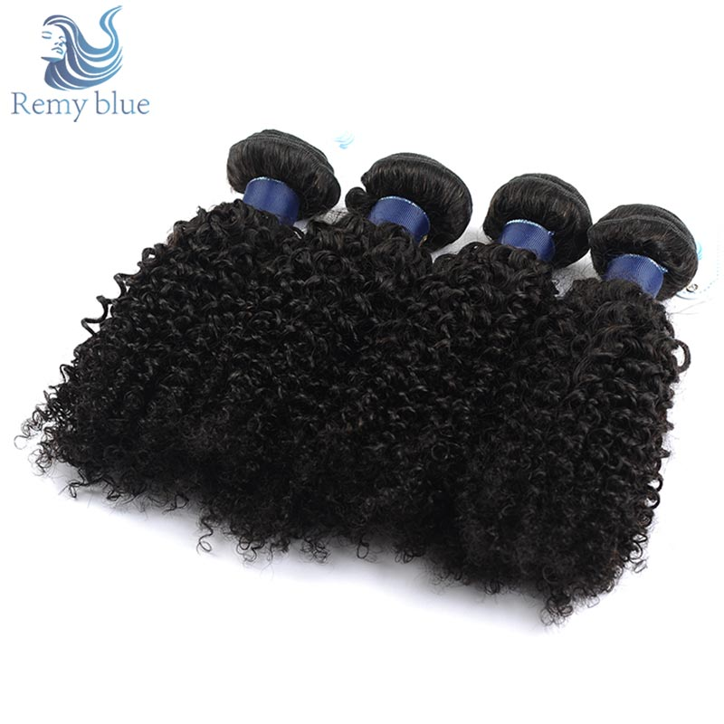 Remy Blue Hair Peruvian Afro Kinky Curly Hair 4 Bundles Deals Human Hair Weave Extensions Natural Color Thick Remy Hair Bundles
