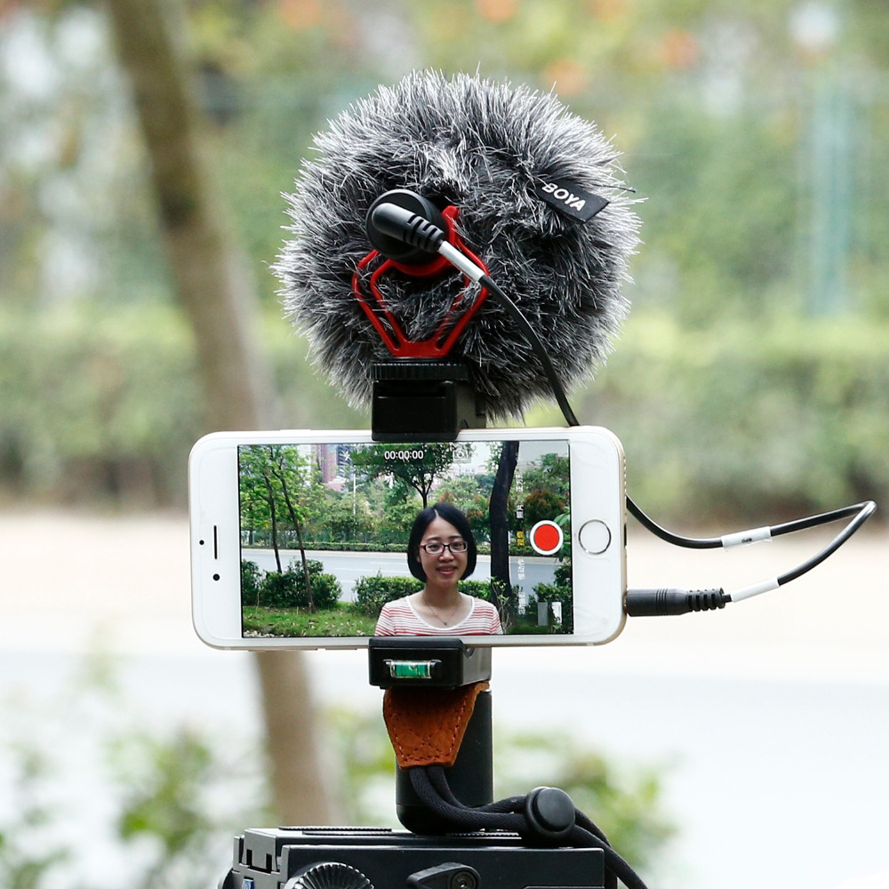 Cell Phone Tripod Mount with Cold Shoe Mount Video Handle Grip Strap Omnidirectional microphone for font