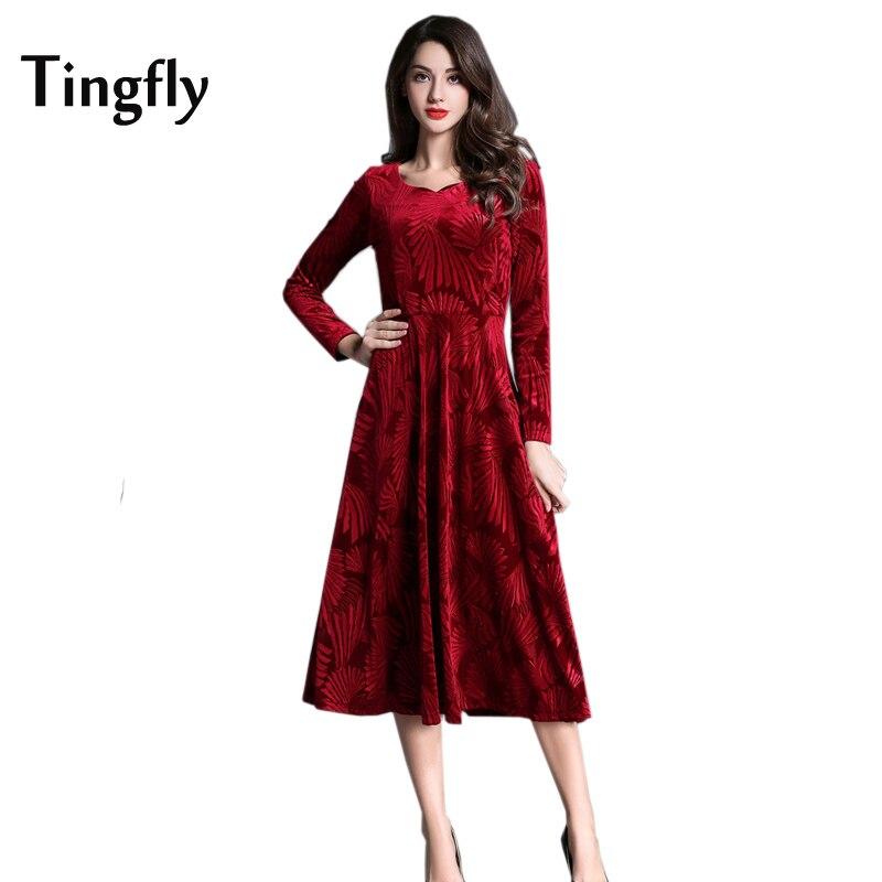 Tingfly Red Velvet Midi Flower Dress Womens Autumn Winter Party Dresses  Long Full Sleeve Elegant Slim A Line Mid Calf Dress-in Dresses from Women s  Clothing ... b6bfcf5e7ad5