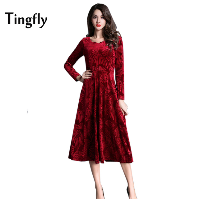 Tingfly Rotem Samt Maxi Blumenkleid Frauen Herbst Winter Party ...