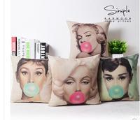 Marilyn Monroe và Audrey Hepburn Linen Bông Đệm Che Nhà Sofa Văn Phòng Vuông Pillow Case Cushion Trang Trí Gối Bao Gồm