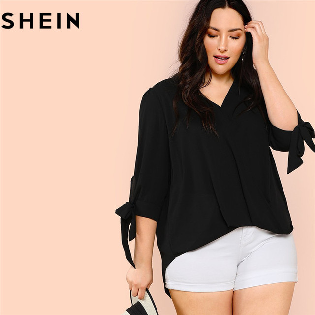 861985067541 SHEIN Black V Neck Knot Cuff Split Sleeve Womens Plus Size Blouse Workwear  2018 New Office Lady Casual Solid Top Blouses