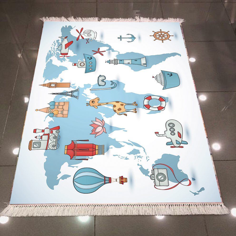 Else Blue White  Educational Earth World Map 3d Microfiber Anti Slip Back Washable Decorative Kilim Kids Room Area Rug Carpet