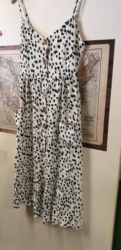Leopard Floral Printed Strap Dress Summer Women V Neck Button Midi Party Dress Elegant Sleeveless Pockets Sundress photo review