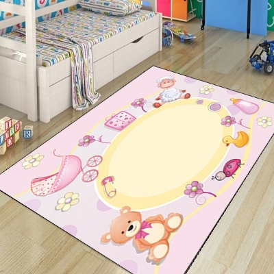 Else Pink Cute Animals Toys Cradle Shoes Girls 3d Print Non Slip Microfiber Children Kids Room Decorative Area Rug Kids  Mat