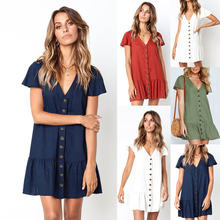 New Women's Fashion Summer Short Sleeve V Neck Button Down Swing Mini Dress with Pockets Beach Summer Dress