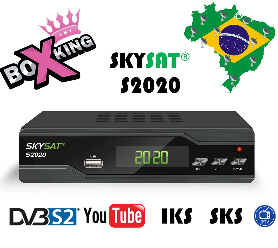 SKYSAT S2020 DVB-S2 Support Youtube, Youporn, IPTV Autoroll PowerVu/Biss Support LAN/Wifi/3G Set Top TV Satellite Receiver for world skysat s2020 twin tuner receptor acm iptv h 265 powervu biss satellite receiver media player