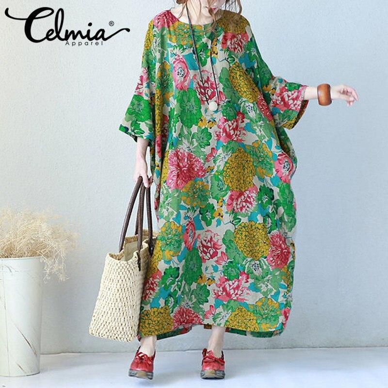 Celmia Women Maxi Dress Oversized Vestido 2018 Autumn Vintage O-neck Batwing Sleeve Floral Print Casual Long Dress Plus Size 5XL