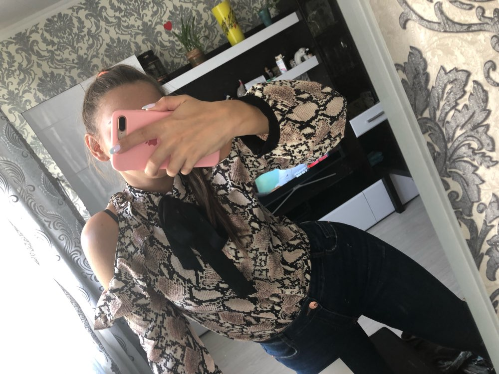 Tie Neck Cold Shoulder Snake Skin Print Blouse Womens Spring Korean Long Sleeve Elegant Shirt Office Ladies Tops photo review