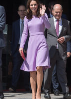 2018 New Kate Middleton Princess Purple Dress autumn wool long sleeve women pleated