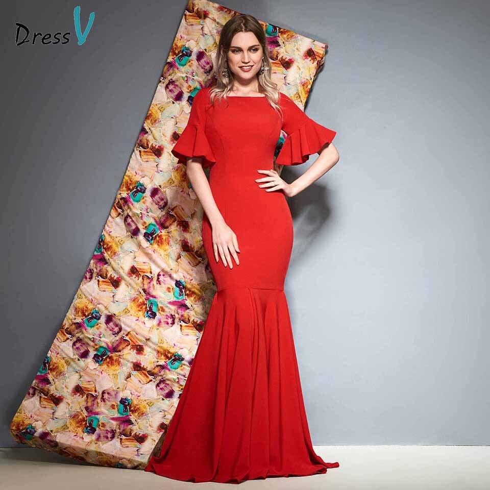 Dressv Red Evening Dress Square Neck Floor Length Mermaid Short Sleeves Zipper Up Wedding Party Formal Dress Evening Dresses