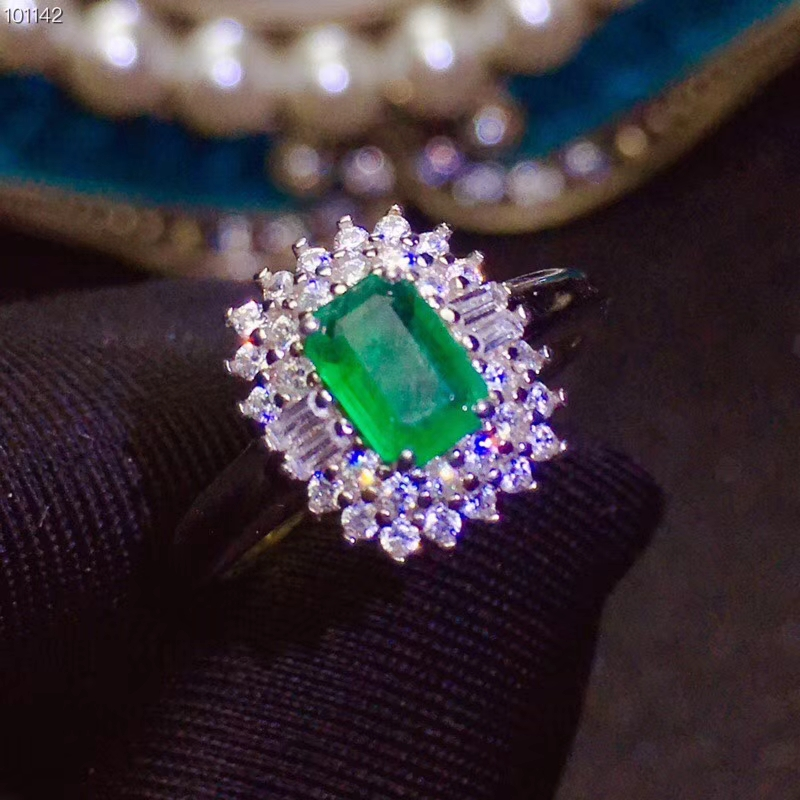 KJJEAXCMY Fine jewelry Fine 925 Silver inlaid Natural Emerald Lady Ring Support Detection