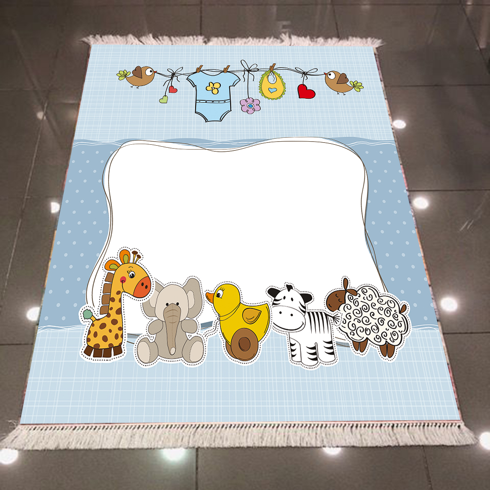Else Giraffe Chick Elephant Lamb Blue Baby Animals 3d Print Anti Slip Back Washable Decorative Kilim Kids Room Area Rug Carpet