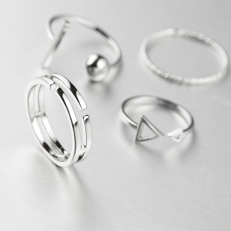 Joker Ring-Set Finger-Ring Adjustable Metal Silver-Color Korean-Style Women New-Fashion