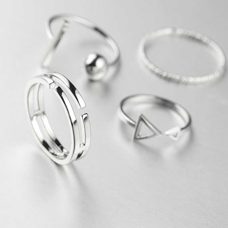New Fashion 4 Pcs/Set Korean Style Rings Simple Joker Metal Finger Ring Silver Color Adjustable For Women Gift Ring set