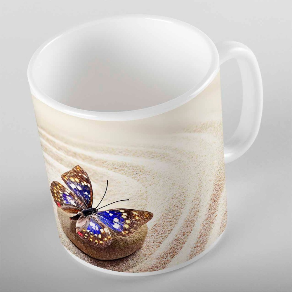 Else Yellow Beach Sand on Brown Stones Blue Butterfly 3d Print Gift Ceramic Drinking Water Tea Bear Coffee Cup Mug Kitchen