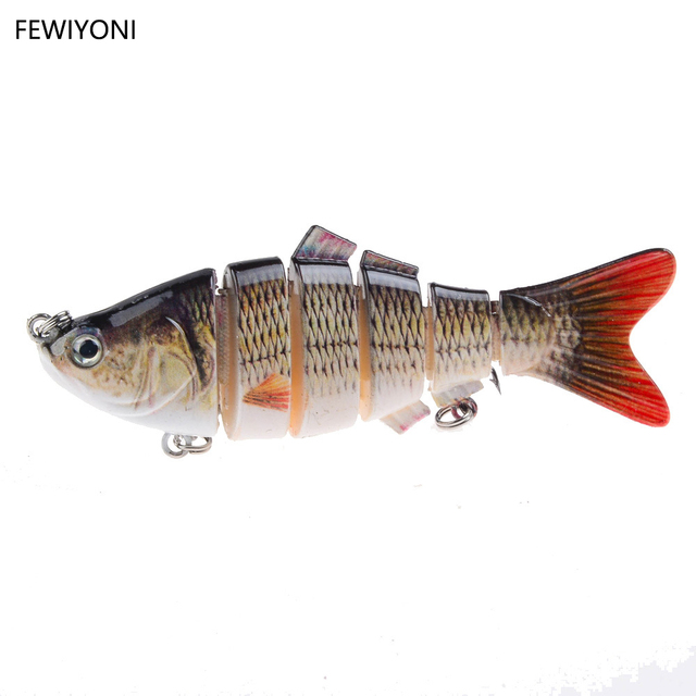 FEWIYONI 10cm 17g Fishing Wobblers 6 Segments Swimbait Crankbait Fishing Lure Bait with Artificial Hooks  Hard Fishing Bait