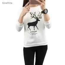 2017 Giraffita New Autumn Winter Women Fashion Cute Cartoon Sweatershirt Loose Casual Female Cloth