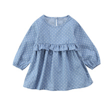 Infant Toddler Baby Girls Denim Mini Dress Dot Printing Casual Holiday Party Dot Tutu Tulle Dresses 0-3Y