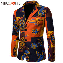 New Spring Suit Blazer Men Cotton Linen Slim Fit Male Suits Casual Jacket Nationality Printed Masculine Blazer Masculino