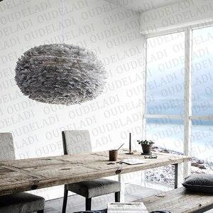 Image 2 - Современные круглые подвесные светильники E27 в скандинавском стиле с белыми перьями, декоративные лампы для столовой, спальни, гостиной, освещение для дома