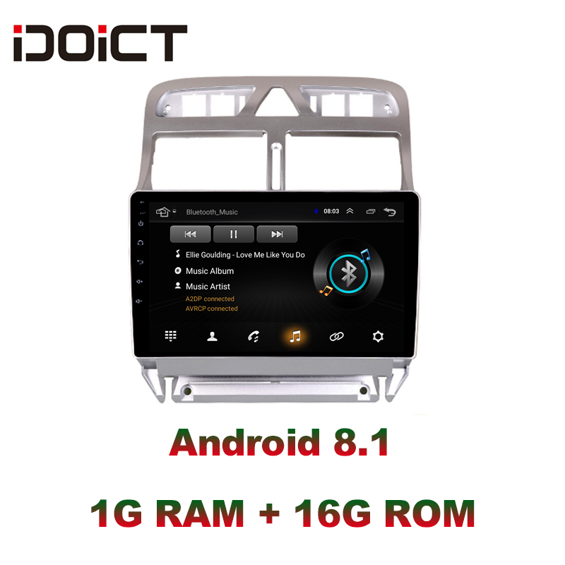 IDOICT Android 8 1 2 5D Car DVD Player GPS Navigation Multimedia For peugeot 307 307CC
