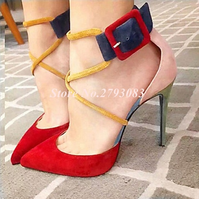 Red Pink Yellow Suede Leather Buckle Ankle Strap Thin Heels Ladies Shoes With Heels Real Photo Patchwork Women Sandals 35-47