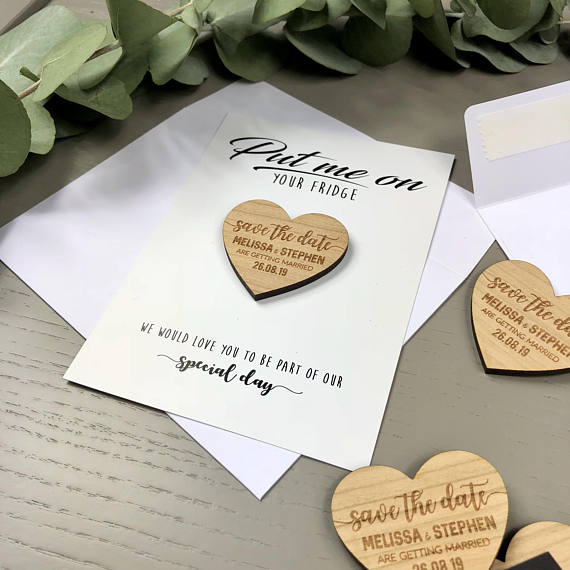 personalize heart wedding wooden save the date magnets with invitations bridal shower party favors company gifts invites in party favors from home garden