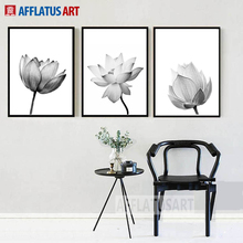 AFFLATUS Black White Lotus Nordic Poster Wall Art Canvas Painting Posters And Prints Pictures For Living Room Bedroom Decor