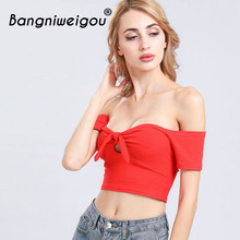 цены на Bangniweigou Cold Shoulder Solid Tube Tops Women Front Tie Knit Crop Top Party Street Casual Bowknot Tank Top Bandeau Tee в интернет-магазинах
