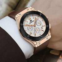 Luxury Brand Casual Wrist Watch BINKADA Men Rubber Strap Chronograph Rose Gold Watch Men Quartz Watch