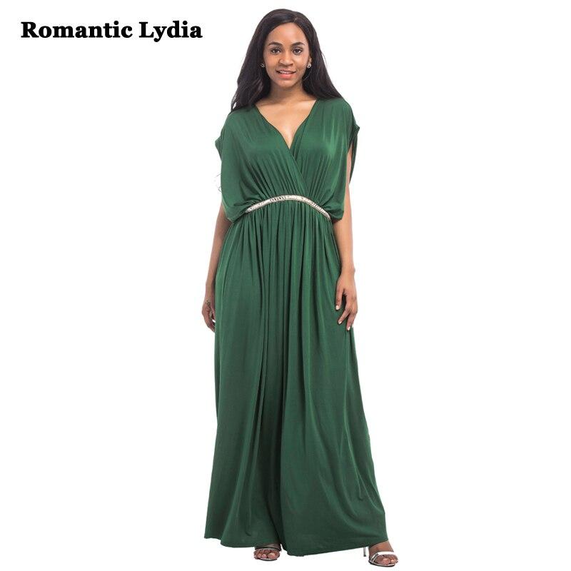 Femmes été longue Wrap robe grande taille 2018 Semi V cou chauve-souris manches soirée de mariage Maxi robes grandes tailles