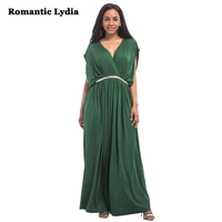 Romantic Lydia Women Long V Neck Full Sleeve Semi Formal Flowy Evening Maxi Dress Cocktail Wedding