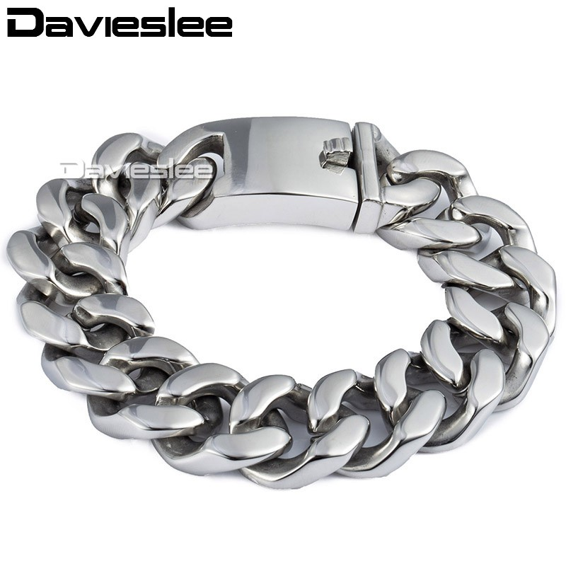 Customized 19mm Mens Polished 316L Stainless Steel Bracelet Silver Tone Cut Curb Cuban Link Chain Wholesale Bulk Price LHB165 25mm mens chain boys big curb link gunmetal tone 316l stainless steel bracelet charm bracelets for women