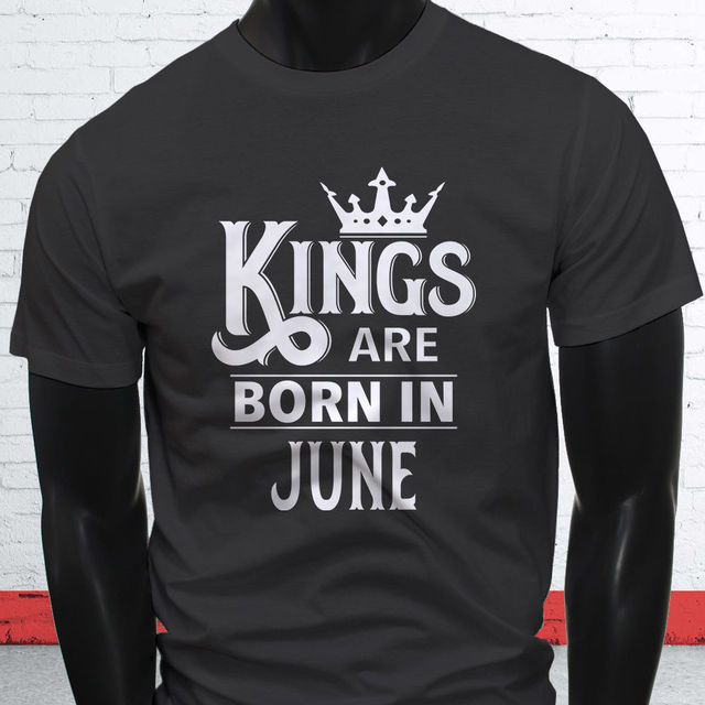 T Shirt Ideas Graphic O Neck Kings Are Born In June Birthday Boy Gemini Cancer Mens