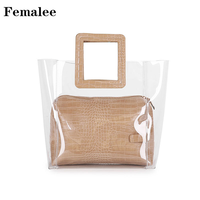FEMALEE 2018 Summer Transparent Trendy Composite Bag PVC clear Handbag Lady Quilted Vintage Bag Fashion Women Square Handle tote fashion anchor printed square new composite linen blend pillow case