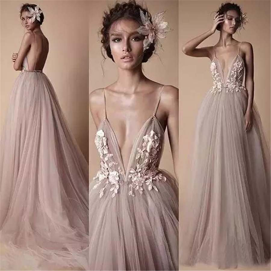 Spaghetti Straps Applique Long   Prom     Dress   A-line Applique Lace Sexy Lower V-neck   Prom     Dresses   Elegant Evening   Dresses