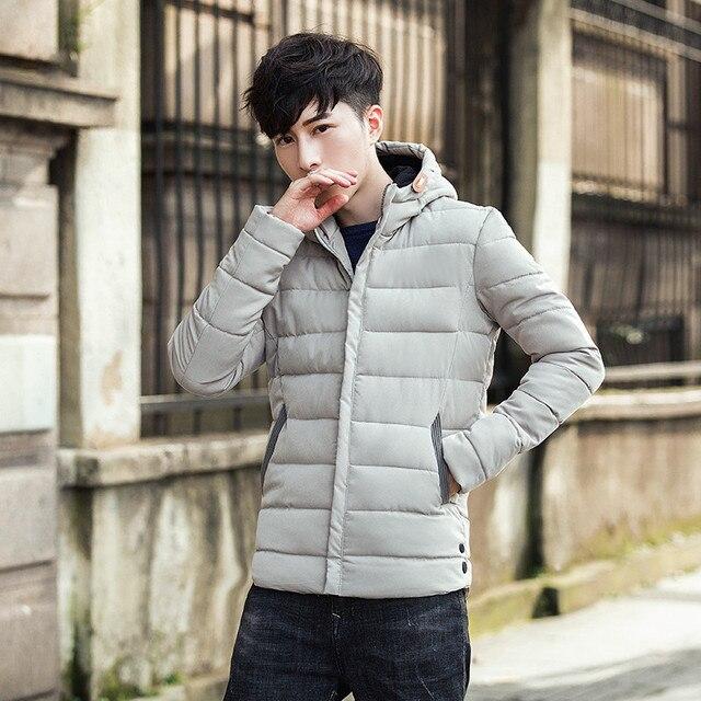 d6fe6b89e Winter Thicken Padded Coat Men s 2017 Korean Style Slim Fit Hooded ...