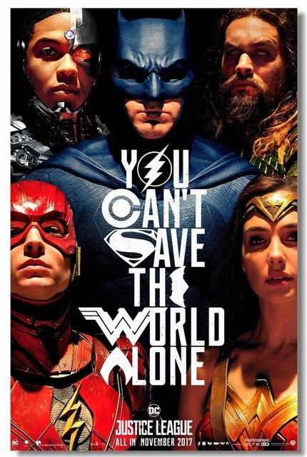 Custom Canvas Wall Decals Justice League Poster Superhero Stickers Wonder Woman Flash Cyborg Aquaman Batman Wallpaper