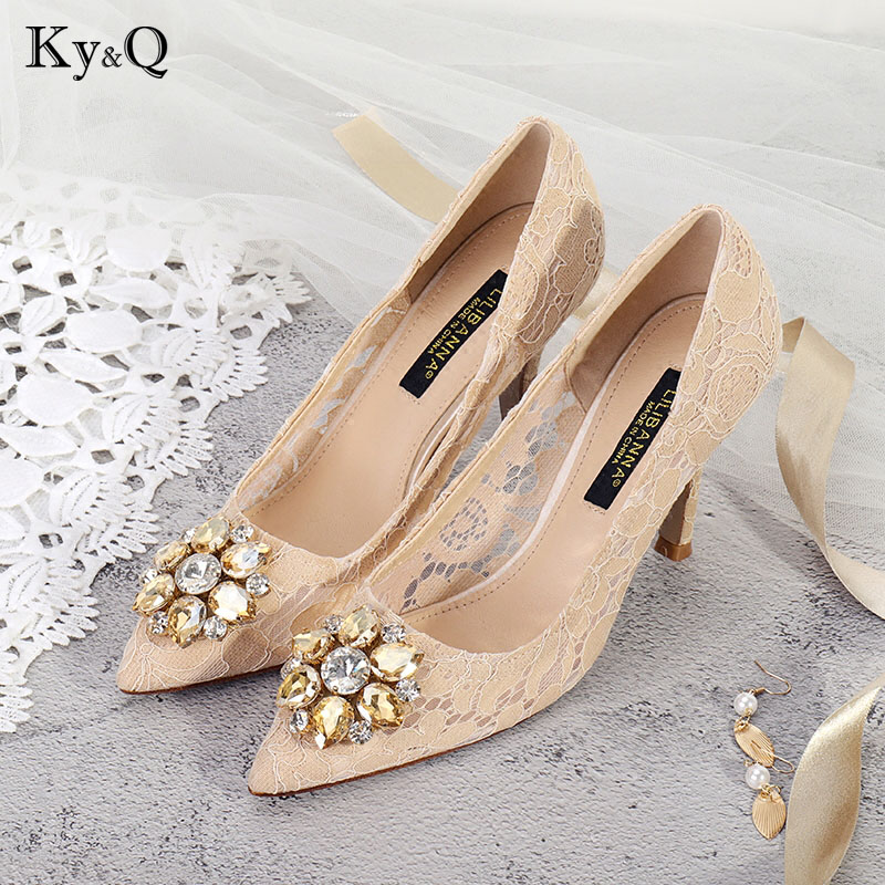 2018 Elegant Women Pumps Pink Pointed Toe Crystal Flower Shallow Women Casual Pumps Lace Wedding Slip On Stiletto Pumps2018 Elegant Women Pumps Pink Pointed Toe Crystal Flower Shallow Women Casual Pumps Lace Wedding Slip On Stiletto Pumps