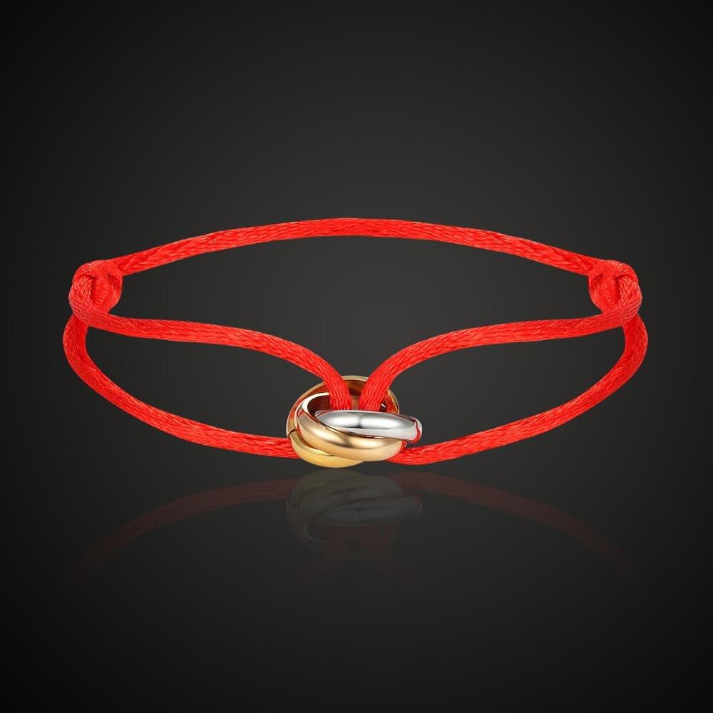 Lanruisha hot stainless steel bracelet 3 metal buckle ribbon lace up chain multicolor adjustable size bracelet popular unisex
