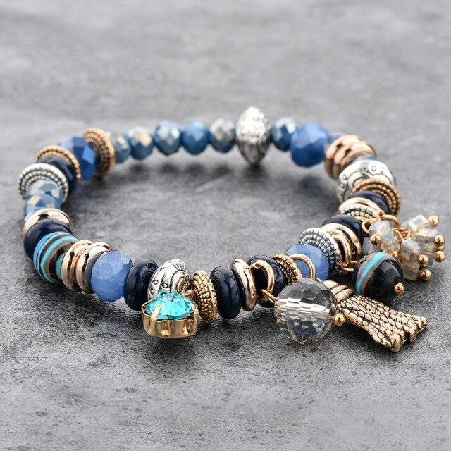 Chicvie золотые кисточки и синие цветы браслеты для женщин браслет